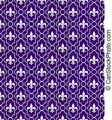 White and Purple Fleur-De-Lis Pattern Textured Fabric...
