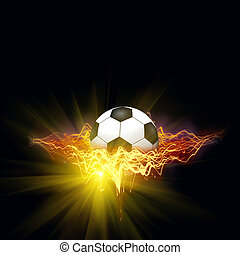 Soccer ball in a ABSTRACT FIRE