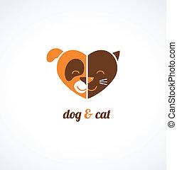 mascotas, vector, iconos, -, gatos, Perros