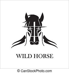 hairy black wild horse - suitable for team identity, sport...