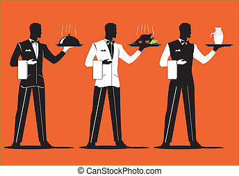 Waiter Parade 1 - A set of elegant waiter, dish up various...