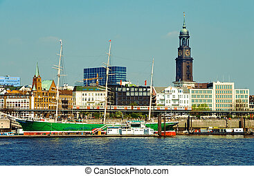 hamburg harbor - famous hamburg harbor with michel church...