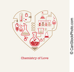 Chemistry of Love, vector background, Valentines day card