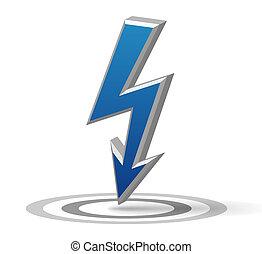 Blue Flash arrow - Isolated blue vector flash arrow sign...
