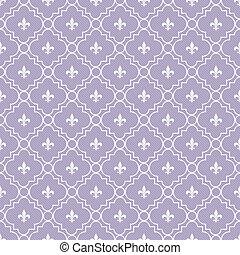White and Pale Purple Fleur-De-Lis Pattern Textured Fabric...