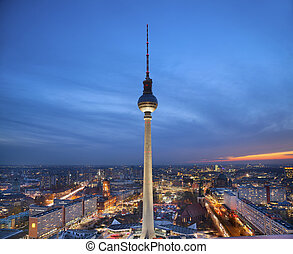 Berlin. - Image of Berlin downtown district during twilight...