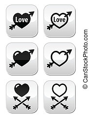 Hearts with arrow, love, valentines - Vector buttons set of...