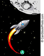 Rocket Spaceship to the Moon - Illustration of Spaceship...