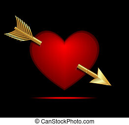 Valentine Heart with Gold Arrow on a Black Background