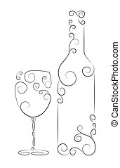 Wine Bottle and Glass - Ornamental representation of bottle...