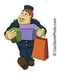 Bellhop carrying boxes