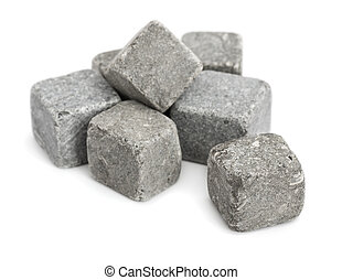 Stone cubes - Pile of stone cubes isolated on white