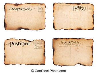 Four Burned, Vintage Post Cards - A set of four heavily...