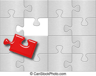 gray puzzle plane surface with one missing red piese