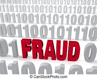 Computer Fraud - A large, red FRAUD stands out in a field of...