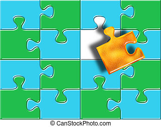 green and blue puzzle surface with one golden piese