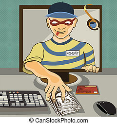 computer thief - Vector illustration of a man from a...