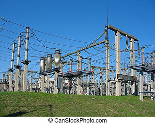 alto-voltagem, substation, azul, céu, fundo,...