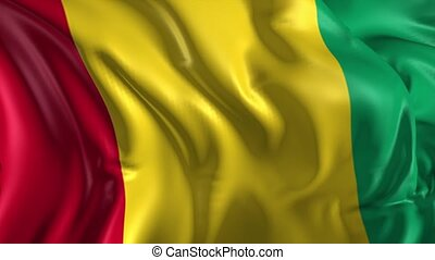Flag of Guinea - Beautiful 3d animation of Guinea flag in...