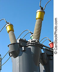 Industrial high voltage converter detail at a power plant