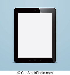 tablet computer with blank screen on blue background