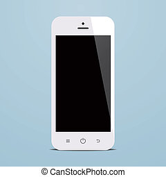 white smartphone with black screen on blue background