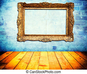Old frame - Old vintage blank frame on the abstract wall