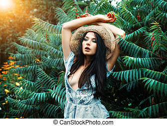 beautiful woman in the garden - young beautiful nude woman...