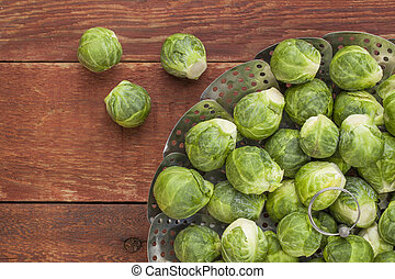 Brussels sprouts in steamer - fresh Brussels sprouts in a...