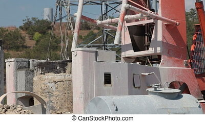 Drilling rig at a construction site - Drilling rig and crane...