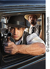 Muscular Gangster Shooting Gun - 1920s vintage gangsters...
