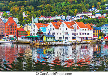 Scenery of Bergen, Norway - Scenic summer panorama of the...