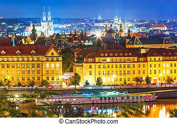 notte, scenario, Praga, ceco, repubblica