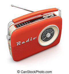 Vintage radio - Old red vintage retro style radio receiver...