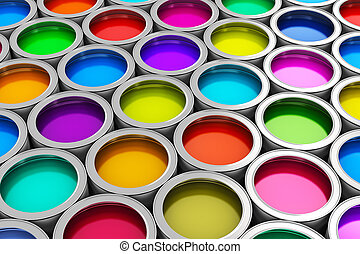 Color paint cans - Abstract creativity concept: group of tin...