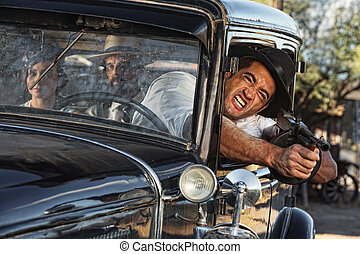 Aggressive Gangster Shooting from Car - 1920s gangster...
