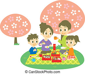 Ohanami, family, cherry blossom party, vector file