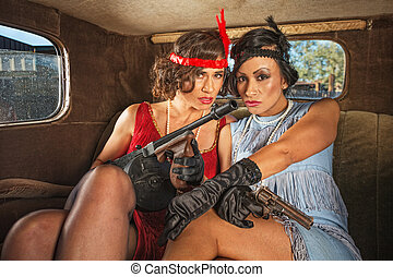 Retro Gangster Females in Car - Pair of pretty 1920s...