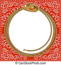Cowboy card background with hat and rope - cowboy card...