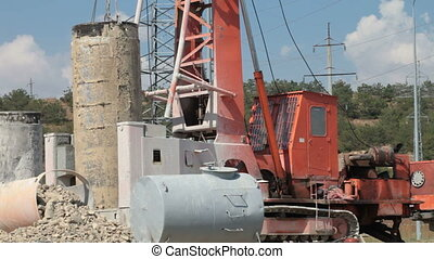Working drilling rig at construction sit