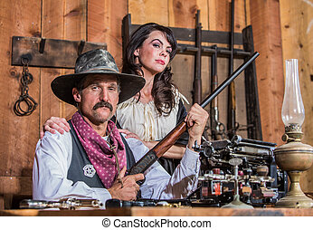 Western Sheriff Poses With Woman - Western Sheriff Poses...