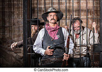 Sheriff Poses With Prisoner - Sheriff Stands Stern in Front...