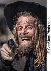 Cowboy Points Gun at You - Cowboy Laughs While He Points Gun...