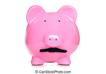 piggy bank with a moustache cutout