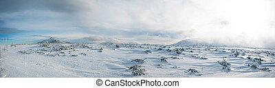 Panoramic view of Karkonosze Mountains in Winter, Mount Sniezka, Poland