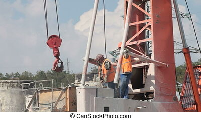 Bored piling machine in operation at construction site