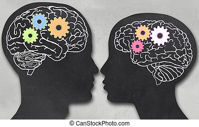 Man and Woman with Working Brain in blackboard Style