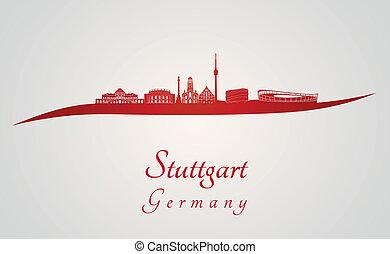 Stuttgart skyline in red