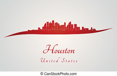 Houston skyline in red and gray background in editable...