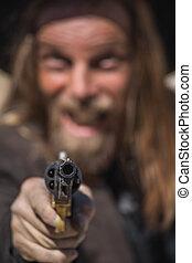 Cowboy Points Gun at You - Stern Cowboy Points Gun at You
